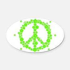 Flower Hippie Peace 60's Sign Psyc Oval Car Magnet