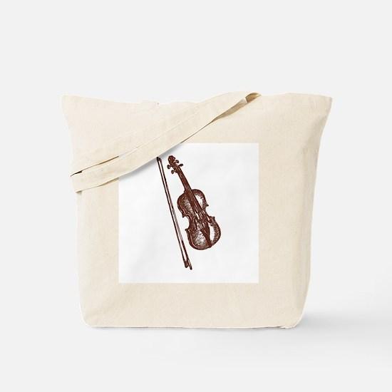 Woodcut Brown Violin/Fiddle Tote Bag