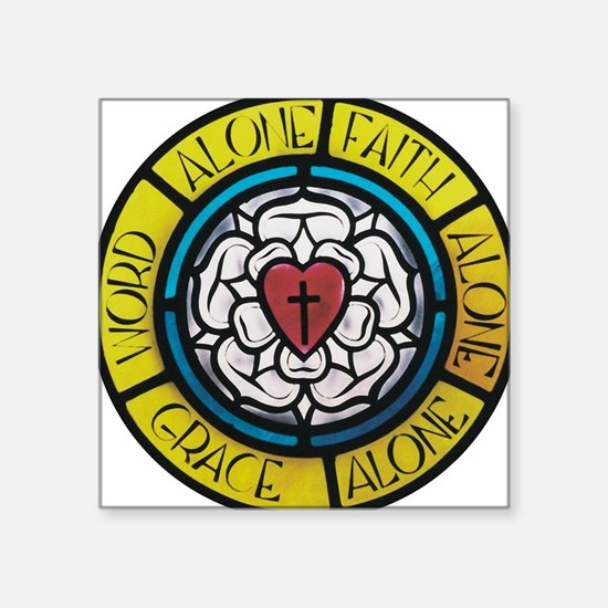 "Luther's Rose Square Sticker 3"" x 3"""