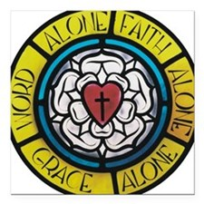 """Luther's Rose Square Car Magnet 3"""" x 3"""""""