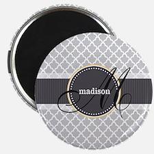Monogram and Name on Gray Quatrefoil Pattern Magne