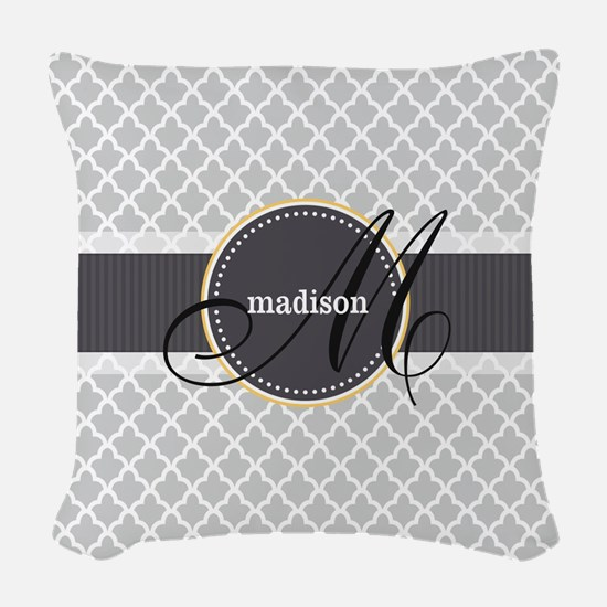 Monogram and Name on Gray Quatrefoil Pattern Woven