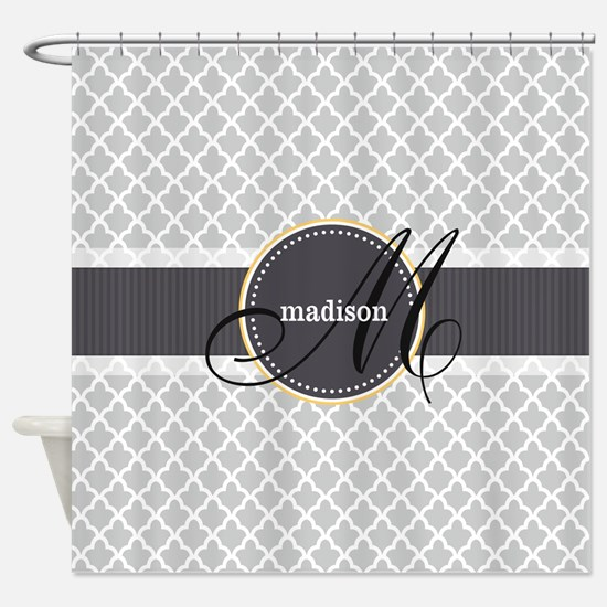 Monogram and Name on Gray Quatrefoil Pattern Showe