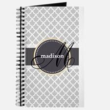 Monogram and Name on Gray Quatrefoil Pattern Journ