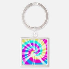 Tye Dye Pattern Square Keychain