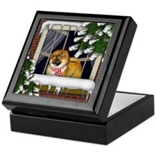 CHOW CHOW DOG WINTER WINDOW Keepsake Box