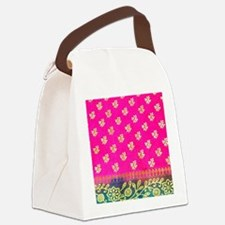 Pink Blue Sari Art Canvas Lunch Bag