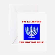 Funny Half Jewish the Bottom 1/2 fo Greeting Cards