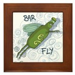 Bar Fly Drinking Framed Tile