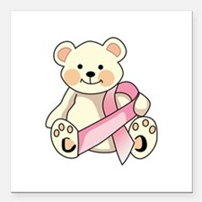 "FIGHT CANCER BEAR Square Car Magnet 3"" x 3"""