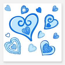"""Doodle Hearts BLUE 06 Square Car Magnet 3"""" x 3"""""""