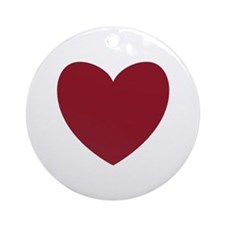 MAROON Heart 13 Round Ornament