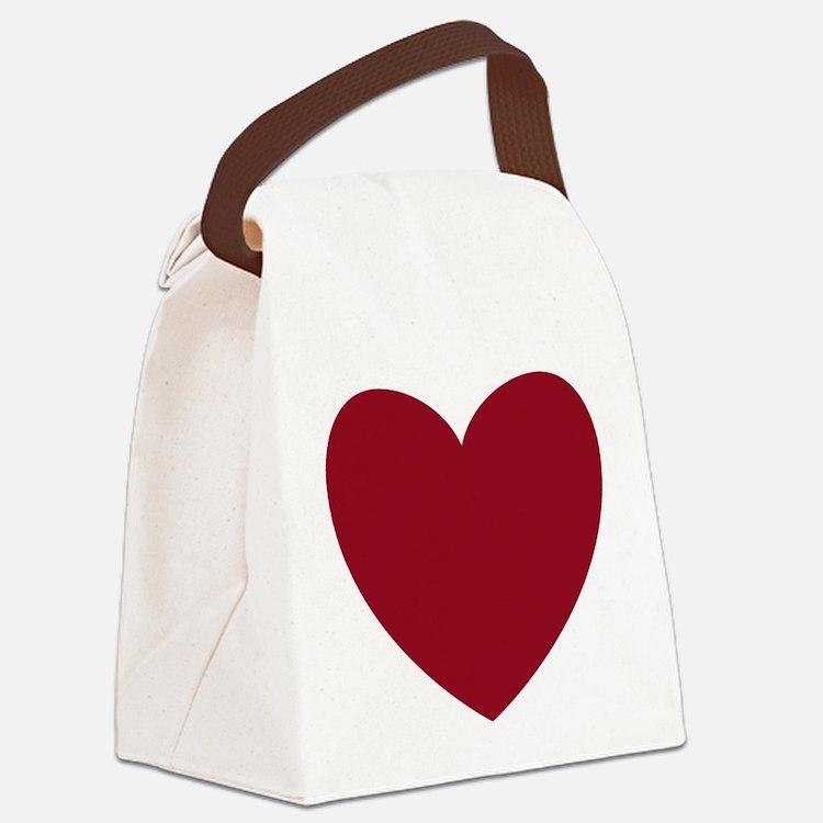 MAROON Heart 13 Canvas Lunch Bag