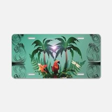 Cute parrot with flowers and palm Aluminum License