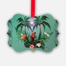 Cute parrot with flowers and palm Ornament