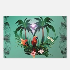 Cute parrot with flowers and palm Postcards (Packa