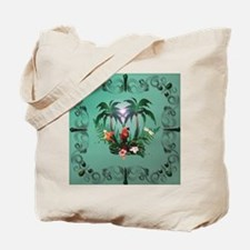 Cute parrot with flowers and palm Tote Bag