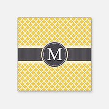 Monogram on Gray and Elegant Quatrefoil Sticker