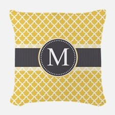 Monogram on Gray and Elegant Quatrefoil Woven Thro