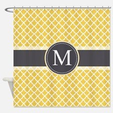 Monogram on Gray and Elegant Quatrefoil Shower Cur