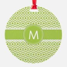 Monogram on Green Retro Honeycomb Pattern Ornament