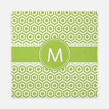 Monogram on Green Retro Honeycomb Pattern Queen Du