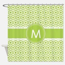 Monogram on Green Retro Honeycomb Pattern Shower C