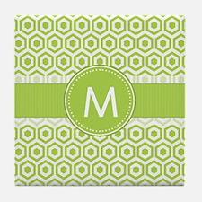 Monogram on Green Retro Honeycomb Pattern Tile Coa