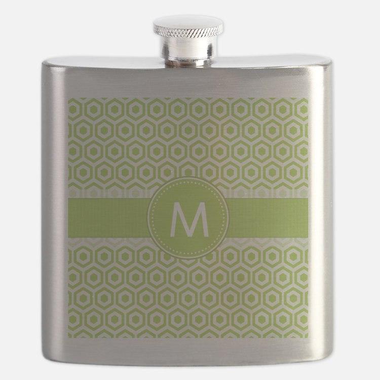 Monogram on Green Retro Honeycomb Pattern Flask