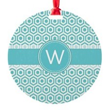 Monogram; Retro Robins Egg Blue Pattern Ornament