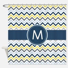 Monogram on Navy Blue, Gray, Yellow Chevron Stripe