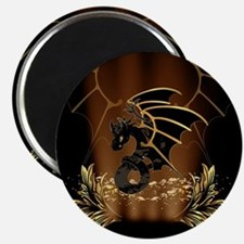 Awesome dragon in gold and black Magnets