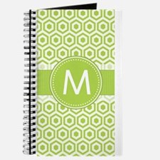 Monogram on Green Retro Honeycomb Pattern Journal