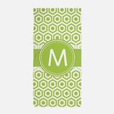 Monogram on Green Retro Honeycomb Pattern Beach To