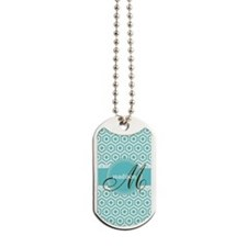Monogram; Retro Robins Egg Blue Pattern Dog Tags