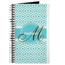 Monogram; Retro Robins Egg Blue Pattern Journal