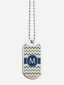 Monogram on Navy Blue, Gray, Yellow Chevron Stripe