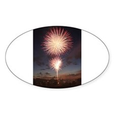 July 4 Fireworks Oval Decal