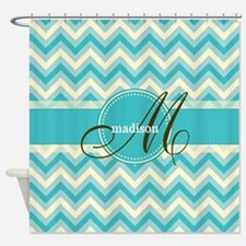 Monogram on Retro Turquoise Blue Chevron Shower Cu
