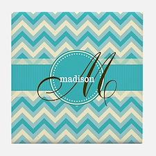 Monogram on Retro Turquoise Blue Chevron Tile Coas
