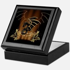 Awesome dragon in gold and black Keepsake Box