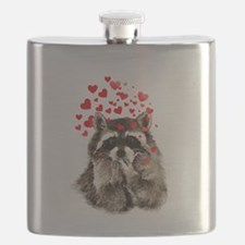 Raccoon Blowing Kisses Cute Animal Love Flask