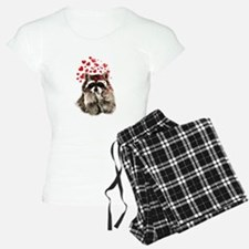 Raccoon Blowing Kisses Cute Animal Love pajamas