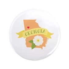 "Georgia Flower Cherokee Rose 3.5"" Button"