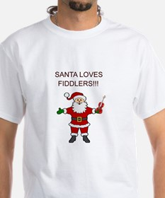 Santa Violin Fiddler Christmas Music Shirt