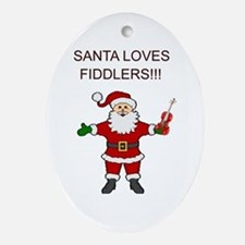 Santa Violin Fiddler Christmas Music Oval Ornament
