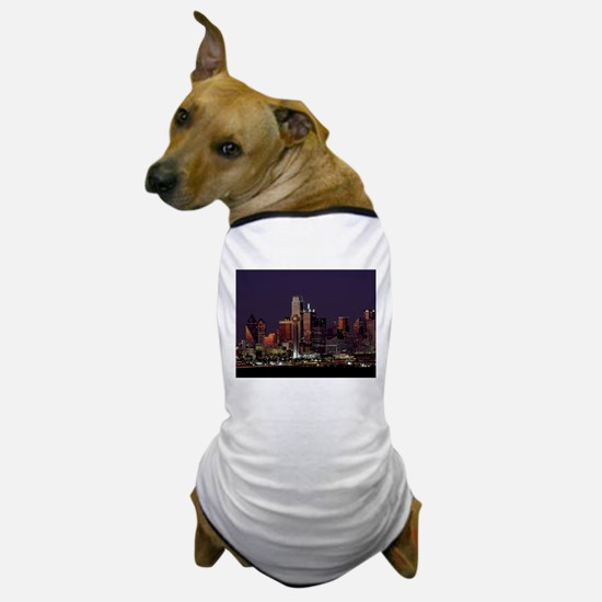 Dallas Skyline at Night Dog T-Shirt