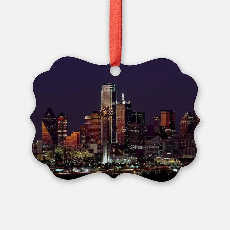 Dallas Skyline at Night Ornament