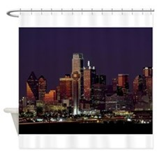 Dallas Skyline at Night Shower Curtain