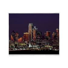 Dallas Skyline at Night Throw Blanket